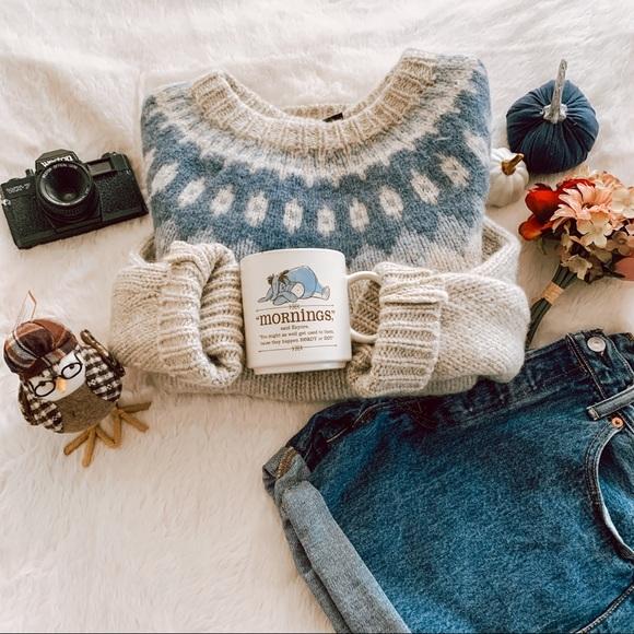 Vintage Sweaters - Vintage Oversized Boyfriend Fair Isle Sweater SZ L